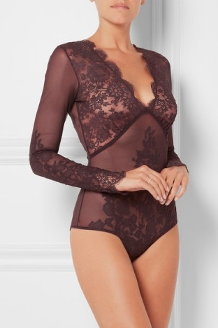 I.D. SARRIERI Chantilly lace and stretch-tulle bodysuit ~ luxury bodysuits ~ designer lingerie ~ feminine ~ scalloped edges ~ underwear