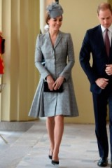 Stylish in an Alexander McQueen grey check coat dress & a Jane Taylor hat, Oct 2014 ~ Kate Middleton style ~ royal fashion ~ royalty ~ Catherine Duchess of Cambridge ~ outfits