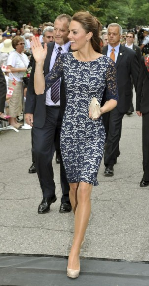 Catherine Duchess Of Cambridge Wearing A Navy Lace Erdem Shift Dre