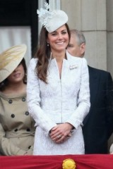 Catherine Duchess of Cambridge smiling on the balcony at Buckingham Palace, Aug 2014, wearing a pale blue embossed suit & floral hat ~ Kate Middleton ~ royal fashion ~ royalty ~ Kate's style