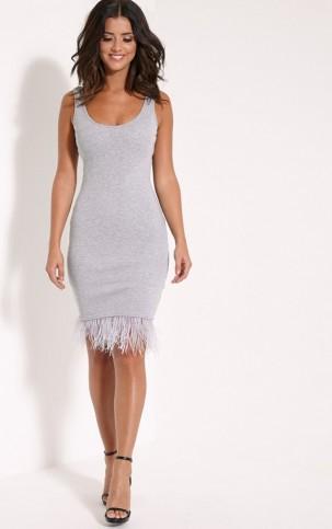 PrettyLittleThing Kaylah grey ribbed feather trim midi dress – party ...