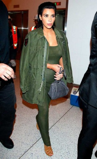 Kim Kardashian Travel Style In Khaki Green At Lax Airport June 20