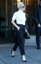 Lady Gaga chic style out in New York City. Celebrity style / stylish outfits