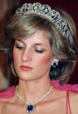 Princess Diana wears a suite of sapphire and diamond jewels presented by the Crown Prince of Saudi Arabia, and the Spencer family tiara ~ royal jewels ~ Princes of Wales jewellery