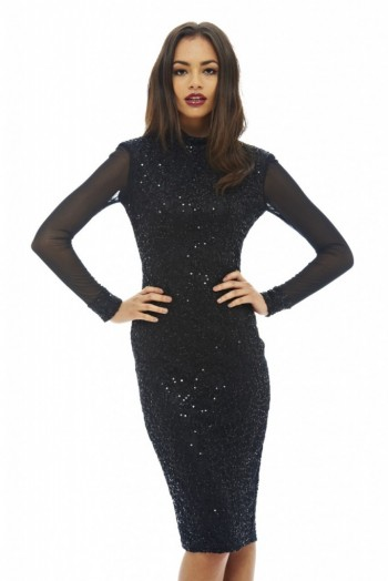 861227d1a48 AX Paris black mesh sleeved sequin midi dress – embellished party dresses –  glamorous evening wear