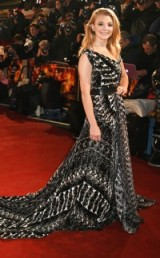 Natalie Dormer looked lovely on the red carpet in a black & white printed Ong Oaj Pairam gown, with asymmetric neckline and a long train – 'The Hunger Games: Mockingjay' Part 2 Premiere in London, 5 Nov 2015. Celebrity style / film premieres / designer gowns