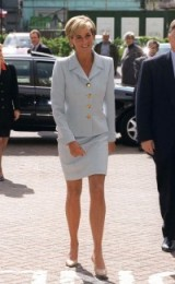Princess Diana in 1997, visiting the Royal Brompton Hospital in a pale blue suit with large gold buttons and nude court shoes ~ royal style ~ chic outfits ~ Princess of Wales fashion