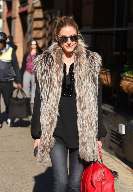 Olivia Palermo out in New York City – style icon – casual chic – fur gilet