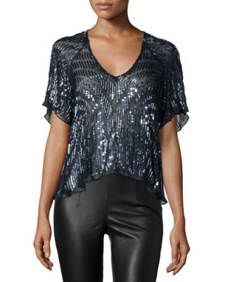 Parker – Lucas Beaded Short-Sleeve Top in Blue Gunmetal – as worn by Hilary Duff on the set of her TV show Younger in New York City, 5 November 2015. Celebrity fashion | star style | embellished tops | what celebrities wear - flipped