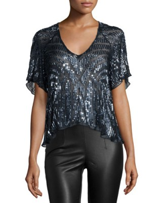 Parker – Lucas Beaded Short-Sleeve Top in Blue Gunmetal – as worn by Hilary Duff on the set of her TV show Younger in New York City, 5 November 2015. Celebrity fashion | star style | embellished tops | what celebrities wear