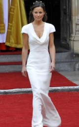 Pippa Middleton's sheath bridesmaid dress in ivory crepe-satin, featured a cowl front, with button detail and lace trims, designed by Sarah Burton at Alexander McQueen, 29 April 2011. Kate Middleton's wedding ~ royal weddings ~ bridesmaids dresses