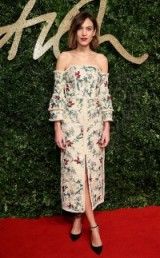 Alexa Chung wearing a floral Erdem off the shoulder dress at the 2015 British Fashion Awards. Celebrity style / red carpet fashion / designer dresses