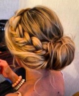 Messy updo with large side braid – braided updos – braids – feminine hairstyles