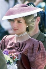 Princess Diana wearing a Catherine Walker dress and a Frederick Fox hat for a visit to Anzio cemetery, Italy in April, 1984 ~ Diana's style ~ royal fashion ~ royalty ~ hats