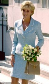 Princess Diana in Washington wearing a light blue tweed suit ~ royal style ~ chic outfits