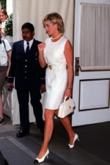 Princess Diana – chic in a little white dress and Chanel accessories. Diana's style ~ royal fashion ~ royalty ~ outfits