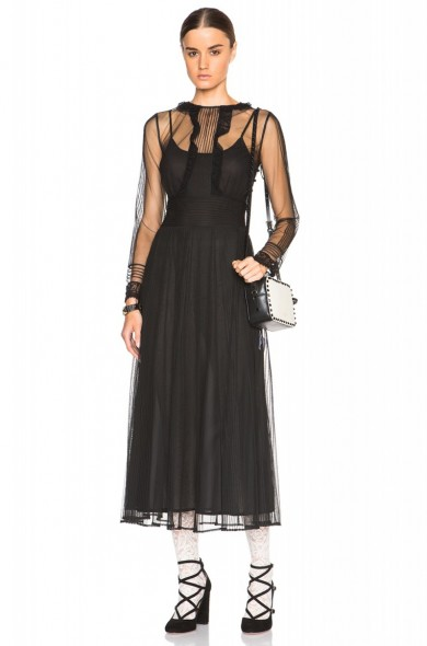 Red Valentino Sheer Sleeve Maxi Dress Black Long Luxury Dresses