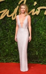 Stunning Rosie Huntington-Whiteley shimmered in this long embellished Burberry dress with plunging neckline, at the 2015 British Fashion Awards. Celebrity style / red carpet fashion / designer gowns / glamour / low cut dresses