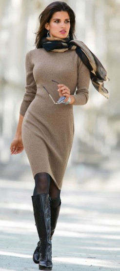 Taupe knitted dress black boots u0026 contrasting scarf. Winter s ... | SnapFashionista.com