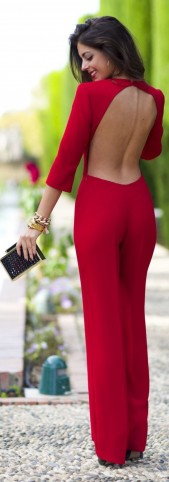 Red Jumpsuit With Cut Out Back Evening Jumpsuits Glamour