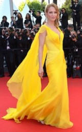 Glamorous Uma Thurman wearing a bright yellow Atelier Versace gown at the 2014 Cannes Film Festival ~ Hollywood style glamour ~ flowing gowns