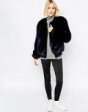ASOS WHITE Faux Fur Bomber navy. Warm jackets | trending fashion