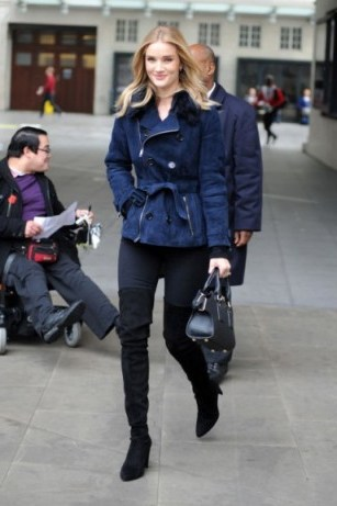 Rosie Huntington-Whiteley street style…navy suede belted jacket, black jeans and black over the knee boots. Celebrity fashion | casual outfits | models off duty - flipped