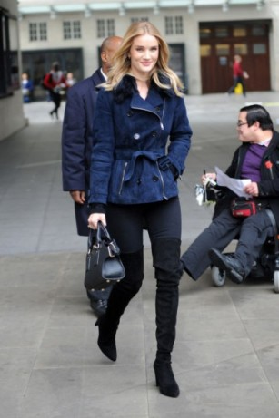 Rosie Huntington-Whiteley street style…navy suede belted jacket, black jeans and black over the knee boots. Celebrity fashion | casual outfits | models off duty