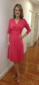 Charlotte Hawkins pretty in pink wearing a ilsejacobsenuk.com dress and Office.co.uk shoes