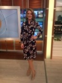 Charlotte Hawkins in a pretty black floral dress from Warehouse.co.uk #gmb #loveit