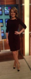 A smart looking Charlotte Hawkins showing her curves in a Coast-Stores.com brown dress and DuneLondon shoes #gmb