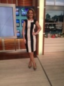 Charlotte Hawkins looking like giant Humbug in a KarenMillen.com black and white stripped dress and LKBennett.com shoes!
