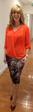 A bright orange Kate Garraway in and mandco.com top and lukelovely.com skirt!