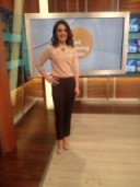 Laura Tobin looking at ease in an Oasis-Stores.com sweater, Debenhams.com trousers and Next.co.uk shoes