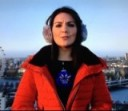 Laura Tobin looking wrapped up in a red jacket from Zara.com and a George at Asda sweater.