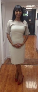 Ranvir Singh looking great in a jaeger.co.uk beige dress and laredoute.co.uk shoes #gmb