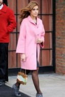 Eva Mendes candy pink coat and grey high heeled booties – celebrity fashion
