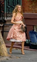 Carrie Bradshaw in a pink floral Vivienne Westwood structured dress ~ #SJP ~ Sex and the City ~ SATC