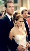 Carrie looks stunning here with Aidan Shaw, wearing a white strapless Badgley Mischka gown and her hair worn in a chic updo ~ SATC ~ Carrie Bradshaw style ~ Sex and the City