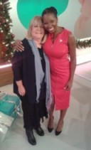 Jamelia on the right is wearing a red MarksandSpencer.com dress and Linda Robson has Ghost.co.uk top on and Jigsaw-Online.com scarf. #loosewomen