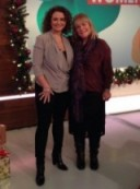 Loose Women's Linda Robson on the right and Nadia Sawalha both looking fab for Xmas in AllSaints.com fashion