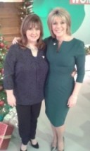 Coleen Nolan on the left has on a tkmaxx.com top and curvy Ruth Langsford is wearing a dark green dress from DivaCatwalk.com and shoes from Topshop.com #looswomen