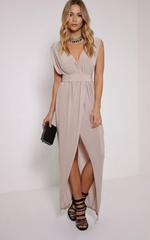 Pretty Little Thing – Marlisa stone slinky plunge maxi dress. Plunging necklines | long party dresses | evening fashion | low cut neckline | going out glamour