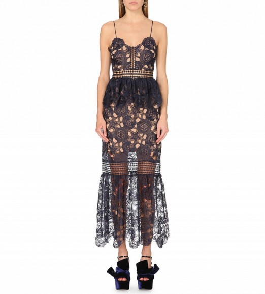 SELF-PORTRAIT Amaryllis embroidered-lace dress in navy – as worn by Emma Miller at the Eastern Seasons' Gala Dinner at Madame Tussauds, London, 30 November 2015. Celebrity fashion | star style | what celebrities wear | floral lace dresses | semi sheer gowns