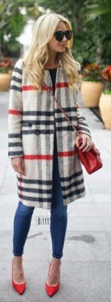 Red & grey check coat, skinny jeans, red bag & heels – stylish coats – street style outfits
