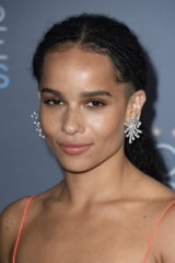 Zoe Kravitz braided hair, earth tone makeup and Dior statement earrings – 2016 Critics' Choice Awards. Celebrity hairstyles | braids | star style beauty