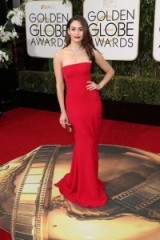 Emmy Rossum red strapless Armani Prive gown 2016 Golden Globes