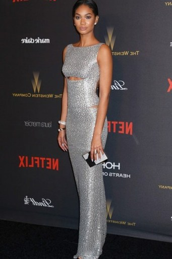 So elegant…Chanel Iman silver sleeveless column gown with cut outs 2016 Golden Globes after party - flipped