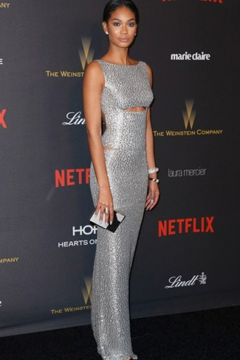 So elegant…Chanel Iman silver sleeveless column gown with cut outs 2016 Golden Globes after party