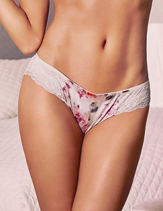ROSIE FOR AUTOGRAPH New Abstract Print Brazilian Knickers with Silk – pretty briefs – lingerie – M&S